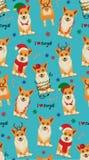 与小狗的无缝的圣诞节样式 也corel凹道例证向量 库存例证