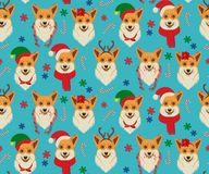 与小狗的无缝的圣诞节样式 皇族释放例证