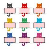 与小猫、猫象或者商标,彩色组的框架 皇族释放例证