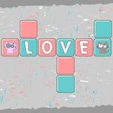 与小猫夫妇的浪漫看板卡  免版税图库摄影