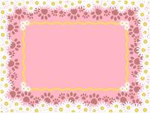 与小猫爪子印刷品的桃红色花卉框架 库存例证