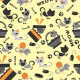 与小猫的无缝的模式 免版税库存照片
