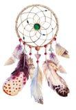 与小珠和羽毛的水彩dreamcatcher 库存图片