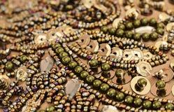 与小珠的刺绣 免版税库存图片