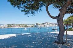 与小船和树的海风景 库存照片