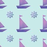 与小船和舵的传染媒介无缝的样式 免版税库存照片