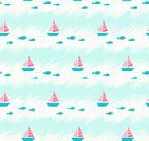 与小船和鱼的无缝的夏天样式 免版税库存图片