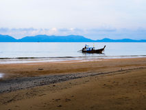 与小船的海景 库存照片