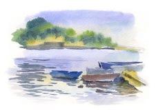 与小船的水彩海景 免版税库存照片