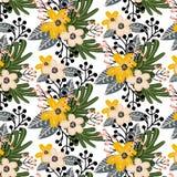 与小花的典雅的无缝的样式 皇族释放例证
