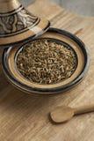 与小茴香籽的摩洛哥tajine 免版税库存图片