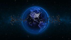 与小行星的行星地球在宇宙或空间,地球和星系在星云覆盖与飞星 免版税库存照片