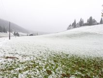 与小雪的荒凉的有薄雾的冬天风景 库存照片