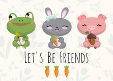 与小青蛙,兔宝宝,猪的逗人喜爱的例证 免版税库存照片