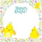 与小鸡和装饰的复活节背景在背景 库存照片