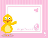 与小鸡的愉快的复活节水平的框架 免版税库存照片