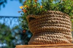 与小黄色花逗留的被编织的黄麻绳索篮子在天空蔚蓝背景的木板材 库存图片