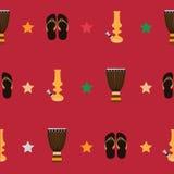 与小鼓的Rastafarian无缝的样式,触发器和黄色为在红色背景的抽烟的大麻发出当当声 也corel凹道例证向量 皇族释放例证