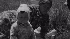 与小婴孩的家庭在夏天野餐的方巾的在自然 婴孩微笑秘密审议 二名妇女 晒裂 股票录像