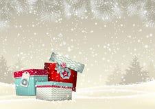 与小组的圣诞节背景五颜六色 免版税库存照片