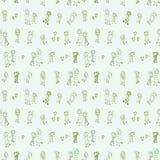 与小组的滑稽和逗人喜爱的绿色无缝的样式奇怪的看的人民 库存图片