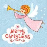 与小滑稽的天使的明亮的假日背景 免版税库存图片