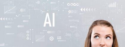 与少妇的AI 免版税图库摄影