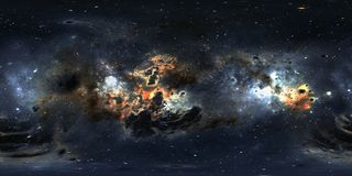 与尘土星云和星的空间背景 全景,环境360 HDRI地图 Equirectangular投射,球状全景 库存图片