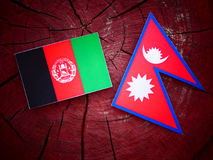 与尼泊尔旗子的阿富汗尼的旗子在被隔绝的树桩 免版税库存照片