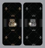 与尾花和冠的垂直的金和银卡片 库存图片