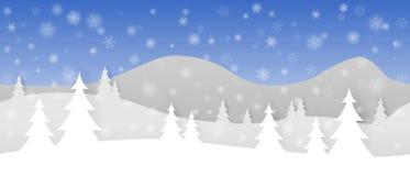 与层状山、树和落的雪花的简单的无缝的纸裁减冬天传染媒介风景在蓝色背景 皇族释放例证
