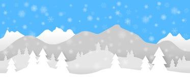 与层状山、树和落的雪花的简单的无缝的纸裁减冬天传染媒介风景在蓝色背景 向量例证