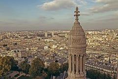 与屋顶的老照片和从Sacre Coeur大教堂的鸟瞰图 图库摄影