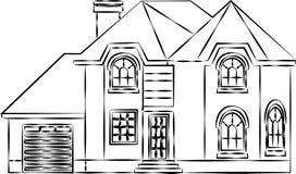 与屋顶的议院外部传染媒介例证正面图 现代 连栋房屋大厦公寓 与门和窗口的家庭门面 皇族释放例证