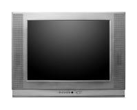 与屏幕包括的裁减路线的CRT电视 库存图片