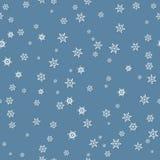 与屏蔽效应的白色雪花对蓝色背景 Seamle 免版税库存图片