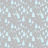 与山、冷杉木和冷杉球果的无缝的样式冬天森林风景 礼物纸的,背景,贺卡理想 皇族释放例证