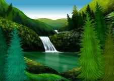 与山、水秋天和杉木的自然风景 例证 向量例证