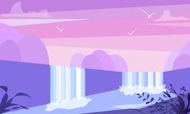 与山、瀑布和湖的逗人喜爱的平的风景例证 水小河简单的传染媒介