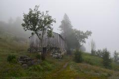 与山农场的有雾的风景在Eidfjord,挪威 免版税库存图片