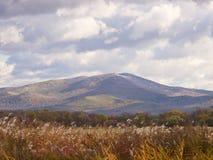 与山和多云天空的秋天横向 免版税库存图片