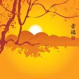 与山和树枝的中国风景 免版税库存照片