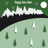 与山和树的圣诞卡 免版税库存照片