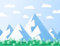 与山和树的平的设计例证 免版税图库摄影