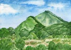与山和森林的水彩风景绿色口气的 图库摄影