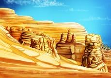 与山和沙子的风景 免版税库存照片