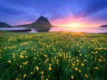 与山和海洋的美好的风景在冰岛 库存照片