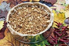 与山核桃果和辣椒的乳脂状的焦糖蛋糕 免版税图库摄影