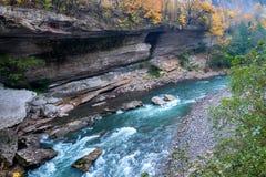 与山河和森林的秋天风景 图库摄影