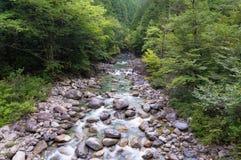 与山河,小河的自然场面用透明的水 免版税图库摄影